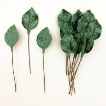 Set of 12 Petite Velvet Rose Leaves ~ SAGE GREEN