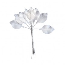 Set of 10 Petite White Satin Rose Leaves ~ Czech Repub.