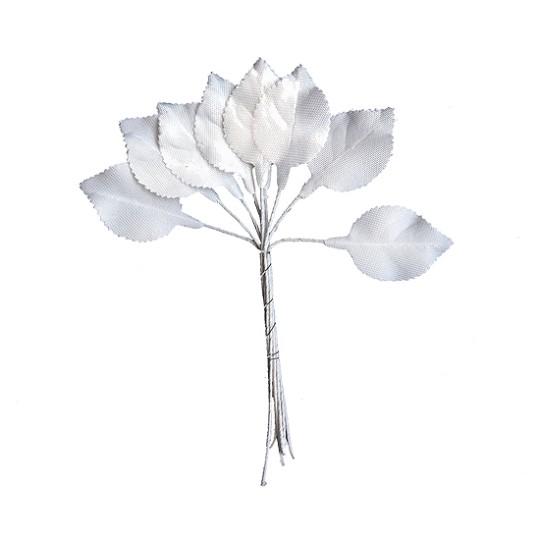 Set of 10 Petite White Satin Rose Leaves ~ Czech Repub.