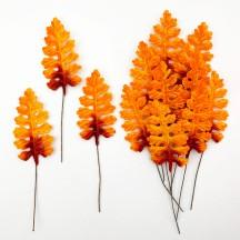 Set of 12 Velvet Fern Leaves ~ AUTUMN OMBRE