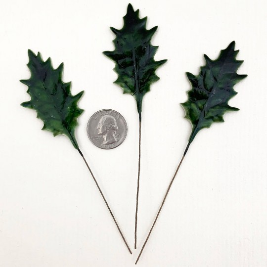 Set of 12 Green Lacquered Holly Leaves for Christmas Crafts