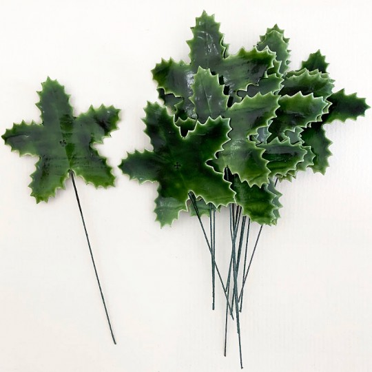 Set of 12 Large Green Lacquered Holly Leaves for Christmas Crafts