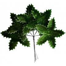 Set of 6 Large Green Lacquered Holly Leaves ~ Czech Repub.