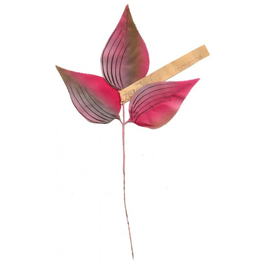 Sprig of Hand Stenciled Satin Leaves in Pink ~ Vintage Germany