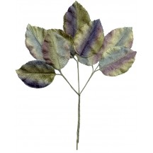 Large Sprig of Dramatic Blue, Green, and Lavender Velvet Rose Leaves ~ Vintage Japan
