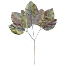 Large Sprig of Pale Green, Lavender and Aqua Velvet Rose Leaves ~ Vintage Japan