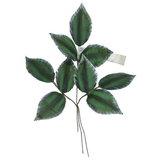 Sprig of Large Handpainted Green Striated Leaves ~ Vintage Germany