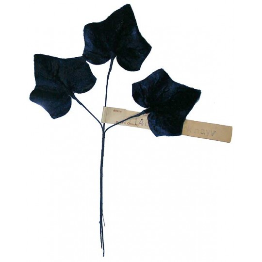 Sprig of Large Navy Blue Velvet Ivy Leaves ~ Vintage Germany