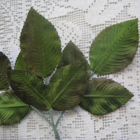 Sprig of Green Ombre Fabric Rose Leaves ~ Vintage Germany