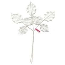 Sprig of White Embossed Satin Rose Leaves ~ Vintage Japan