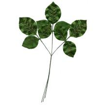 Sprig of Shiny Green Embossed Satin Rose Leaves ~ Vintage Japan