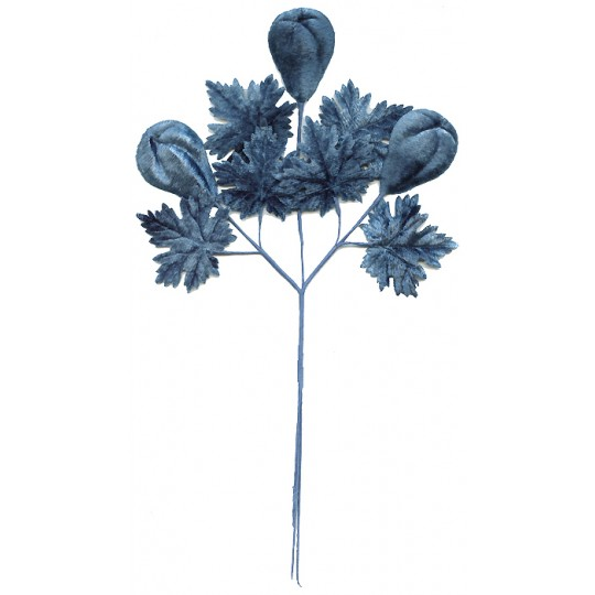 Spray of Steel Blue Ombre Velvet Pears and Leaves ~ Vintage Japan