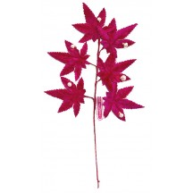 Spray of Magenta Pink Ombre Velvet Leaves with Berries ~ Vintage Japan