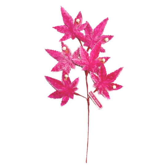 Spray of Light Pink Ombre Velvet Leaves with Berries ~ Vintage Japan