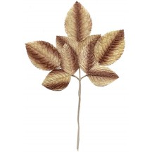 Large Spray of Brown and Ivory Velvet Rose Leaves ~ Vintage Japan