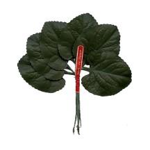 6 Dark Green Fabric Violet Leaves ~ Vintage Japan