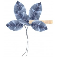 Spray of Large Dior Blue Silk Leaves ~ Vintage Germany