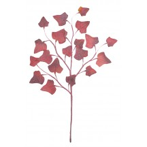 Spray of Pale Red Flocked Fabric Ivy Leaves ~ Vintage Germany