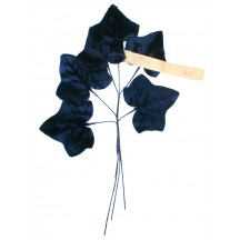 Spray of Large Navy Blue Velvet Ivy Leaves ~ Vintage Germany