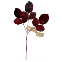 Sprig of Dark Burgundy Ombre Velvet Rose Leaves ~ Vintage Germany
