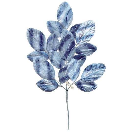 Spray of Blue Striped Velvet Leaves ~ Vintage Japan