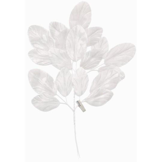 Spray of White Embossed Velvet Leaves ~ Vintage Japan