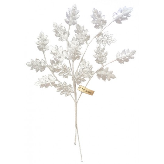 Spray of Petite White Velvet Leaves ~ Vintage Japan