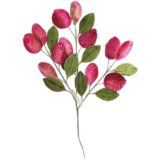 Spray of Pink Velvet Berries and Green Leaves ~ Vintage Japan