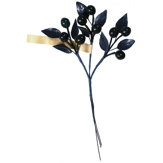 Spray of Vintage Navy Blue Glass Olives with Leaves ~ Vintage Germany