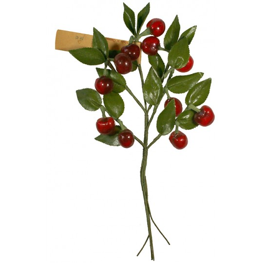 Spray of Vintage Glass Red Cherries with Leaves ~ Vintage Germany