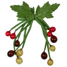 Spray of 12 Vintage Glass Berries in Mixed Colors ~ Vintage Germany