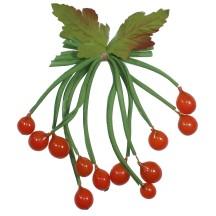 Spray of 12 Vintage Glass Berries in Orange ~ Vintage Germany