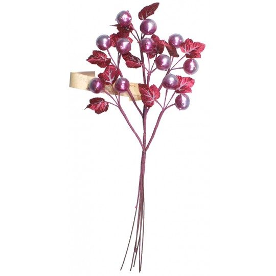 Spray of Pearlized Chestnuts with Handpainted Burgundy Leaves ~ Vintage Germany