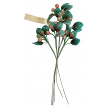 Spray of Vintage Flocked Glass Berries with Leaves ~ Vintage Germany