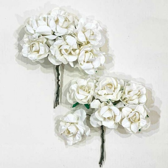 12 Ivory Paper Curly Rose Flowers