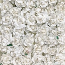 12 White Paper Curly Rose Flowers