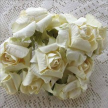 12 Paper Crinkle Roses in Ivory
