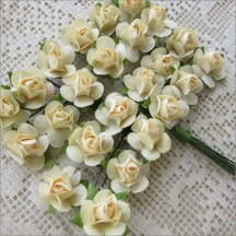 24 Ivory Petite Rose Paper Flowers
