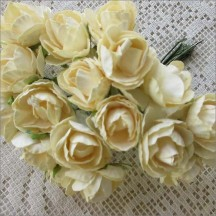 20 Paper Summer Roses in Ivory