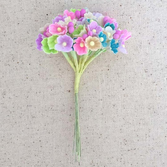 1 Bouquet of Paper Forget Me Nots in Bright Mix