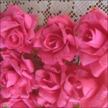 12 Fuchsia Pink Dainty Rose Paper Flowers
