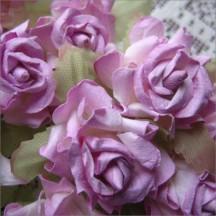 12 Lavender Dainty Rose Paper Flowers