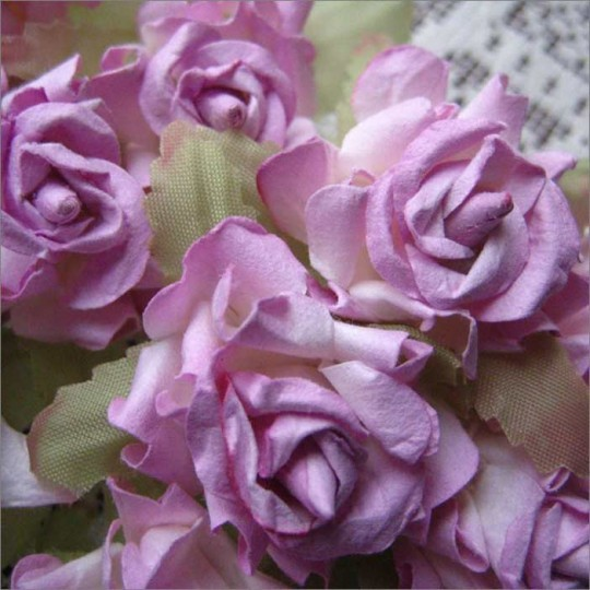 12 Lavender Dainty Rose Paper Flowers
