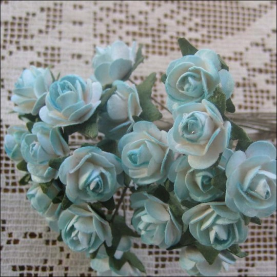 24 Sweet Blue Mix Petite Rose Paper Flowers