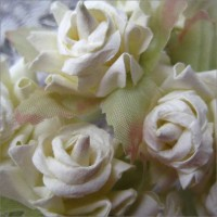 12 White Dainty Rose Paper Flowers