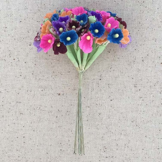 1 Bouquet of Paper Forget Me Nots in Fall Mix