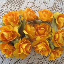 12 Marigold Yellow Paper Open Rose Flowers