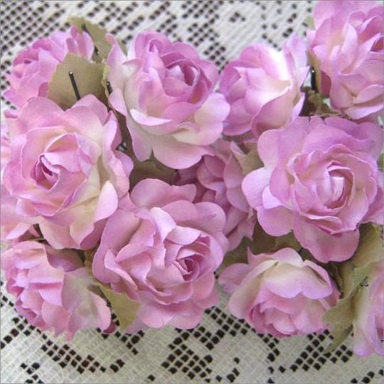12 Pale Lavender Paper Open Rose Flowers