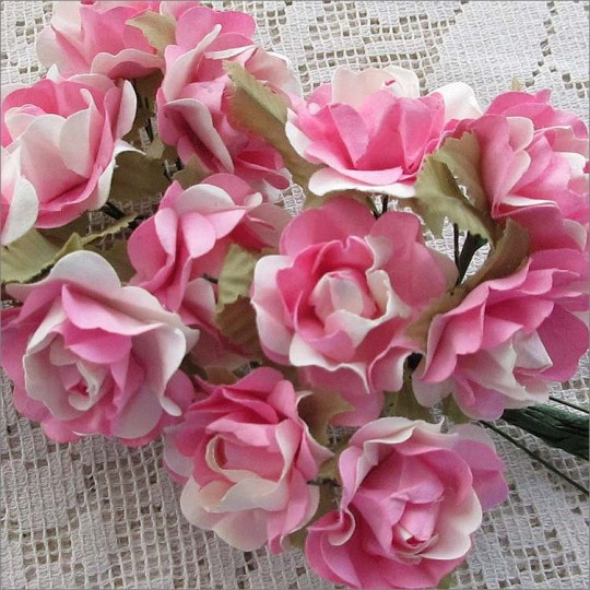 12 Pink Mix Open Rose Paper Flowers