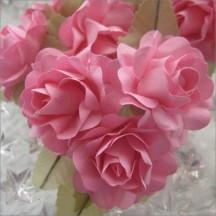12 Pink Paper Open Rose Flowers
